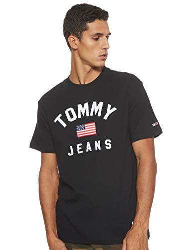 Tommy Jeans Herren TJM USA Flag Tee Sporttop, Schwarz (Tommy Black BBU), Small (Herstellergröße:S)