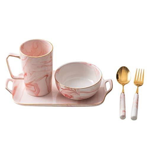 CESULIS Set de cubiertos de cerámica rosa creativo desayuno plato pastel bocado plato pequeño sopa tazón postre cuchara 1 persona vajilla vajilla vajilla vajilla