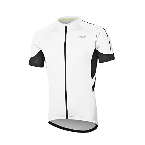 ARSUXEO Men's Short Sleeves Cycling Jersey Bicycle MTB Bike Shirt 636 White Size XL