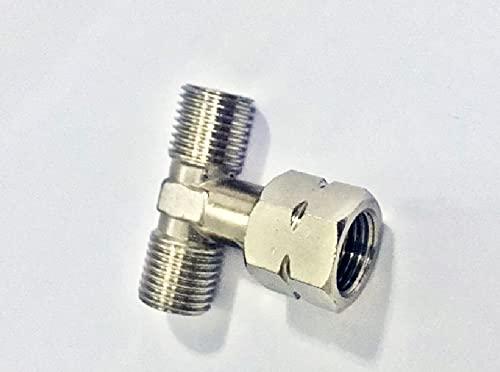 T-Stück Abzweig Doppelanschluss 1/4 LH Verbinder für Gasschlauch Druckminderer Regler Verbindungsstück