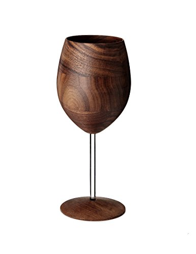 Handcrafted WUD Walnut Wood Wine Glass with Clear Stem - 12 oz.