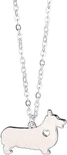 NC110 Collar de Plata 1pc Corgi Collar Welsh Corgi Joyas Personalizadas Mascotas Cachorro Perro Collares Adoptar para Mujeres Amantes Regalo Colgante Collar Regalo para jóvenes YUAHJIGE