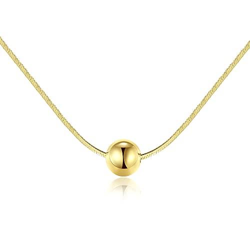 Collar de Mujer Personalizado, Plata de Ley 925 Bañada en Oro de 14k, Minimalista Collar de Hueso de Serpiente Cadena de Eslabones de Clavícula, para Mujeres