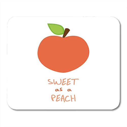 Yanteng Mouse Pads Mouse Pads Brown Color Peach and Quote Graphic Fruit Stalk Green Leaf Writing Sweet As Colorful Cute Mouse pad for Notebooks