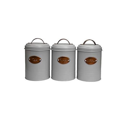 Novel Solutions - Juego de 3 botes de te, azucar, cafe con tapas, decoracion de cocina para tus bolsas de te favoritas, cubos de azucar y granos de cafe o polvo.