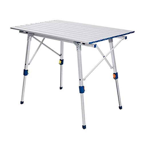 Folding Camping Table Outdoor Camping Folding Table Metal Legs TV Game Snack Dinner Foldable Laptop Stand Tailgate Table Multi -Purpose Easy Transport Folding table (Color : Silver)