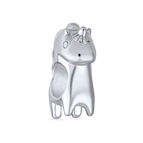 Viel Glück Mythische Einhorn Charm Perle Für Frauen Teen Oxidiert 925 Sterling Silber Passt Europäische Armband