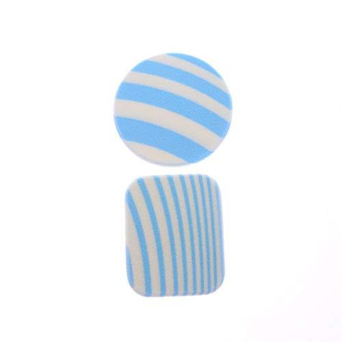 Piero 2 Pcs Rayures Tampons en Coton Doux Maquillage Remover pour Le Visage Poudre Puff Rond Carré Cosmétique Tampons De Nettoyage, Bleu
