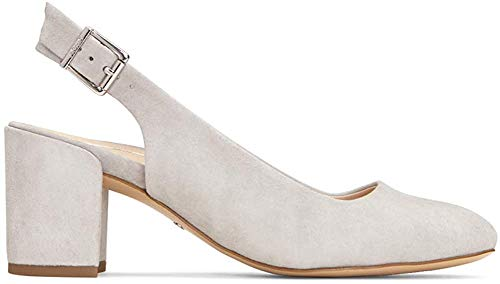 Vionic Women's Plaza Nareen Slingback Heel - Ladies Block Heels with Concealed Orthotic Arch Support Light Grey Suede 7 M US