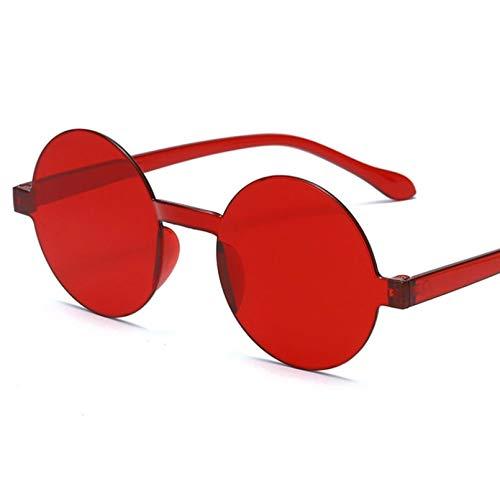 HHAA Gafas Redondas Redondas Sin Marco Gafas De Sol De Diseñador De Mujer De Color Jalea De Moda Retro