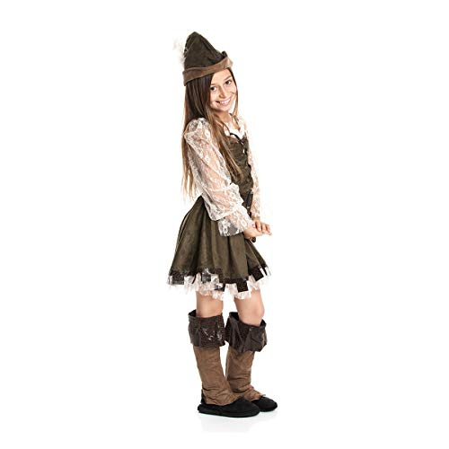 Kostümplanet® Robin Hood Kostüm Kinder Mädchen Faschingskostüm Lady Marian Kinderkostüm Räuberin Jäger Mittelalter Verkleidung Bogen-Schütze Größe 128