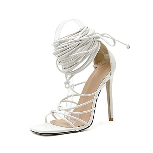 JUSTMAE 2021 Nuove Donne Gladiatore Sandali Alti al Ginocchio Open Toe Lace up Cross Strappy Sandali Donna Tacchi Alti Moda Scarpe Sexy