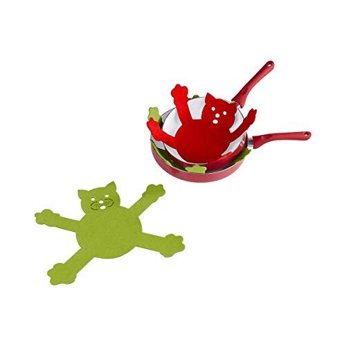 TRI Pfannenschutz-Set, 3-teilig, Katzen, Tiermotiv, Pfannenschoner, Stapelschutz, Filz, Pfannenschutzset, Kratzschutz, Faservlies gefilzt, 37 x 27 cm
