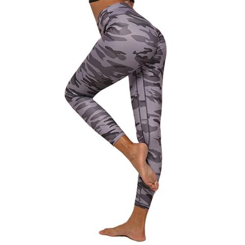 QTJY Pantalones de Yoga Ajustados de Camuflaje Medias de Fitness de Cintura Alta Hip-up Pantalones Deportivos para Mujer Pantalones de Entrenamiento para Correr Pantalones de Jogging AL