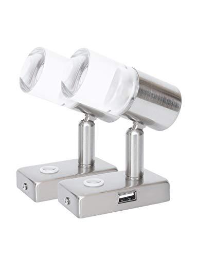 lighteu, 2X 12V 3W A2 USB Decken- / Wandstrahler, Nickel-Finish, Nachttischlampe, Leselampe drehen und schwenken mit Touch-Schalter Dimmbar warmes weißes/blaues Licht für Yacht, Caravan, RV