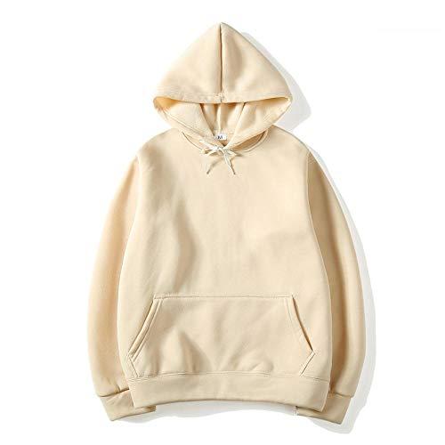 WYPAN Plus samtfarbener Fester leerer Hoodie-Off-White_XXXL Herren Hoodie Sweatshirt Pullover Streetwear