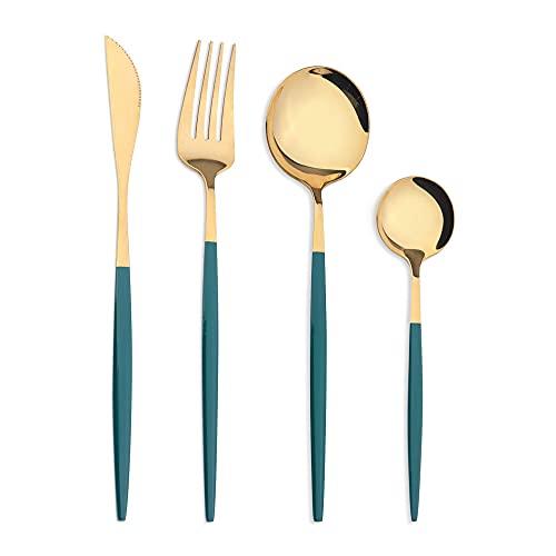 OUDEING Cuberteria Moderna Conjuntos de Cubiertos de 24 Piezas, 6 x Tenedores y 6 x Cuchillos de Cena y 6 x cucharas de Cena, 6 x cucharaditas, Fino pulido-16pcs Verdes