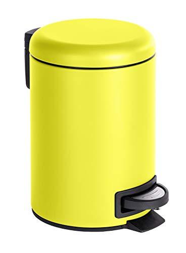 WENKO Kosmetik Treteimer Leman Fassungsvermögen 3 L, Stahl, gelb, 22,5 x 17 x 25 cm