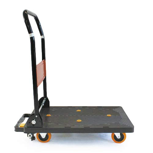 業務用樹脂台車 ブレーキ付き 静音軽量タイプ 150kg プラスチック台車 折りたたみ台車 手押し台車
