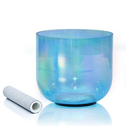 Juego de cuencos de meditación de cristal, cuenco de cuarzo colorido transparente con mazo y junta tórica para promover la paz, la curación de chakras y la atención plena, tono B azul, 15,2 cm