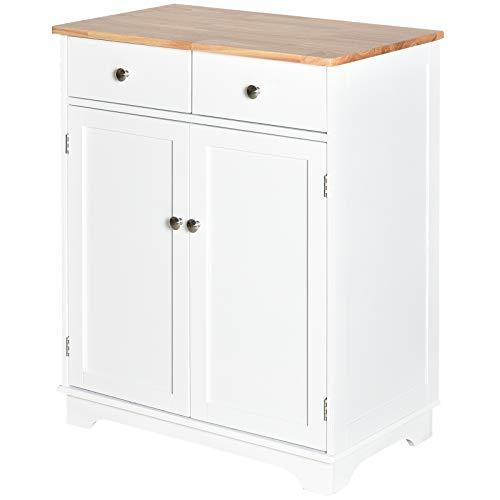 HOMCOM Küchenschrank Sideboard mit 2 Schubladen, Kommode, Aufbewahrungsschrank, MDF, Weiß, 68 x 40,3 x 85 cm