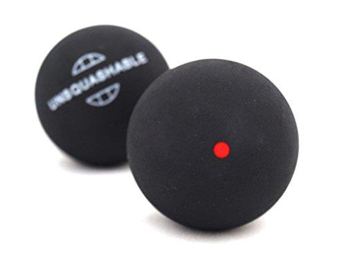 Unsquashable 382210 Pelotas de Squash, Paquete de 2 unidades, Negro (punto rojo)