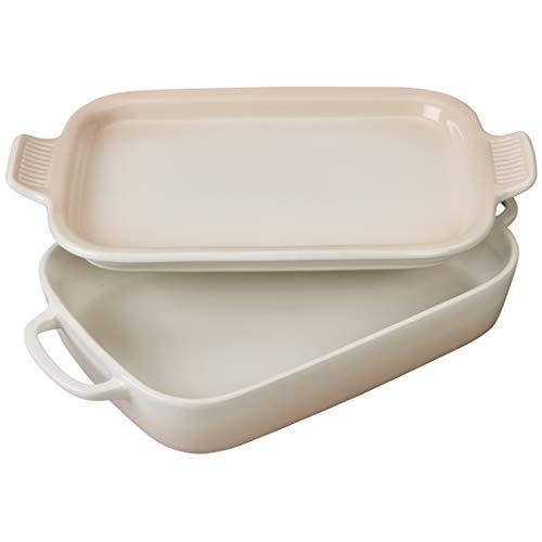 Le Creuset Stoneware Rectangular Dish with Platter Lid, 14 3/4'x9'x2 1/2' (2.75 qt.), Meringue