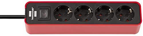 Brennenstuhl Ecolor regleta enchufes con 4 tomas corriente (cable de 1.5 m, con interruptor) color rojo/negro