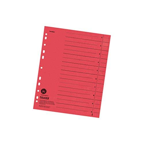 Original Falken 100er Pack Trennblätter. Made in Germany. Aus Recycling-Karton für DIN A4 rot Trennlaschen Trennblätter Ordner Register Kalender Blauer Engel