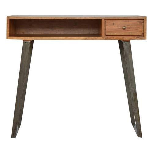 Artisan Furniture 1 Drawer Chestnut Writing Desk Schreibtisch, Mangoholz, Karamell/Zinn-Basis, One Size