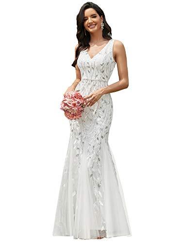 Ever-Pretty Vestito da Sposa Donna Sirena Paillettes Tulle Petto Basso Scollo a V Senza Maniche Stile Impero Bianco 40