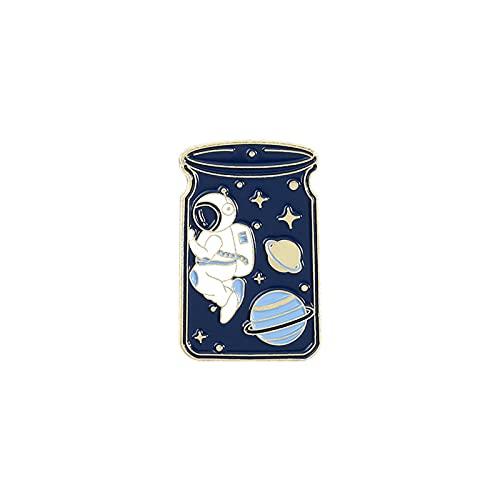 N\C Pin de Esmalte Adventure Ocean Drifting Astronautand Whale Wishing Bottle Broches Bolsa Pin de Solapa Insignia Joyas para Amigos