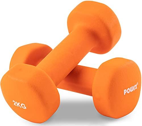 POWRX Fitness Neopren Hanteln 2KG Paar (2er Set) | rutschfeste Allzweck Kurzhanteln für Fitness, Training, Aerobic, Körper Gewicht