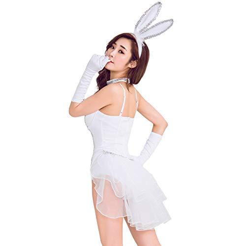 AYUSHOP Seoras Sexy Nuevo Conejo Blanco Vestido de Noche Bar DJ actuacin en Grupo Sexy conejita Disfraz de Escenario, para Fancy Dress Party Club Carnival,L