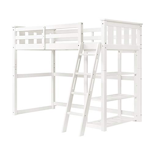 Better Homes and Gardens Loft Storage Bed with Spacious Storage Shelves, Multiple Finishes, (60 x 79 x 64, White)