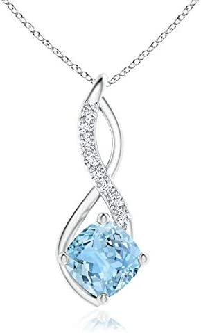 Excellence Aquamarine Infinity gift Pendant with Diamond Platinum in 7m Accents