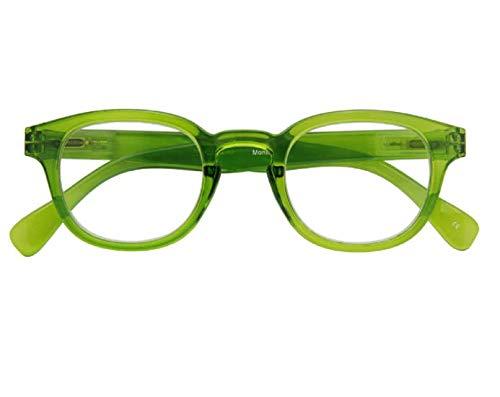 Leesbril met veerscharnier voor heren en dames (Unisex) met een beschermhoes - verkrijgbaar in verschillende kleuren - Montel By Croon Glasses (+ 1.50, groen)