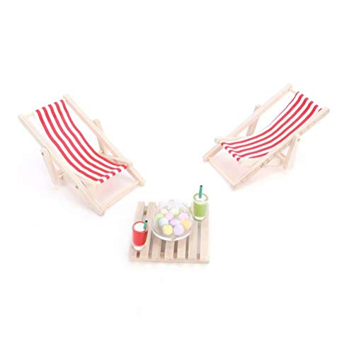 iLAZ 1:12 Scale Dollhouse Furniture Miniature Sun Loungers Set of 2 Random Colors for Doll House, Miniature Accessory Kids Pretend Toy, Creative Birthday Handcraft Gift