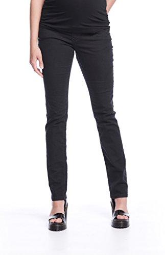 Queen Mum Damen Umstands-Jeans Schwangerschafts-Jeans Denim stützendes Bauchband gerades Bein normaler Bund Straight-Leg-Hose schwarz Gr. 38
