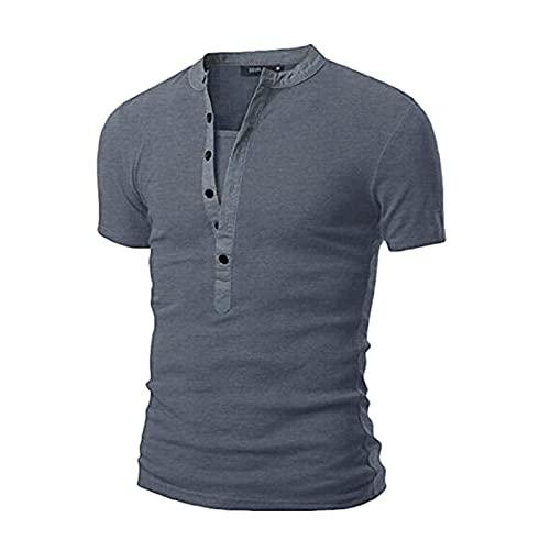 T- Heren poloshirt korte mouwen V-hals zomer shirt heren polo shirt polo shirt klassiek polo shirt sport shirt fitness shirt herenoverhemden mannen vrijetijdshemd business (donkergrijs, XXL)