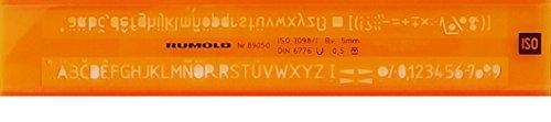 Rumold 89050 Schriftschablone, 5 mm, orange/transparent