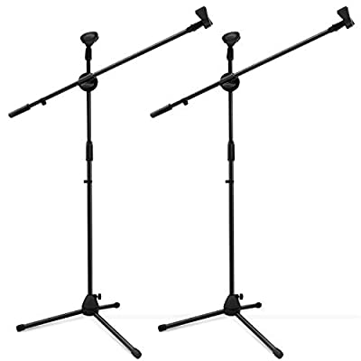 Microphone Stand 2 Pack, Ohuhu Tripod Boom Microphone Stand with Dual Mic Clip, Ultra-light for Easy Transport, Collapsible, Black