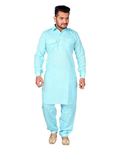 ESTILO VASTRA Men's Cotton Pathani Suit/Traditional Kurta with Pathani salwar Set/Stylish Salwar Suit set for Men's