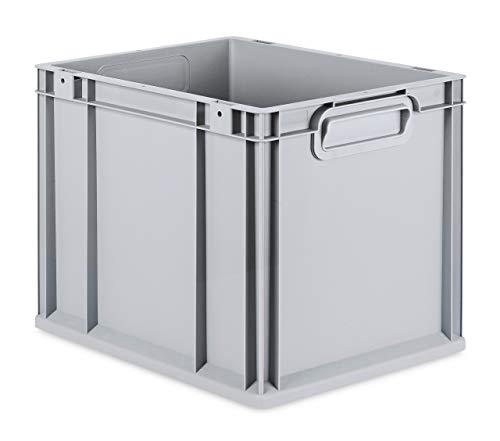 aidB Eurobox NextGen Grip, 400x300x320 mm, Griffe geschlossen, robuste Plastikbox aus Kunststoff mit ergonomischen Griffen, stapelbare Kunststoffkiste, ideal für die Industrie, 1St.
