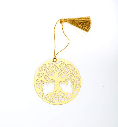 ADORAA's Tree of Life/Banayan Tree Golden Brass Metal Bookmark with Golden Tassel - Perfect Gift for Friends & Family