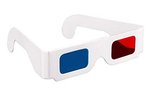 3D Paper Glasses, Red and Cyan Anaglyph, White Cardboard Frame, 50 Pairs