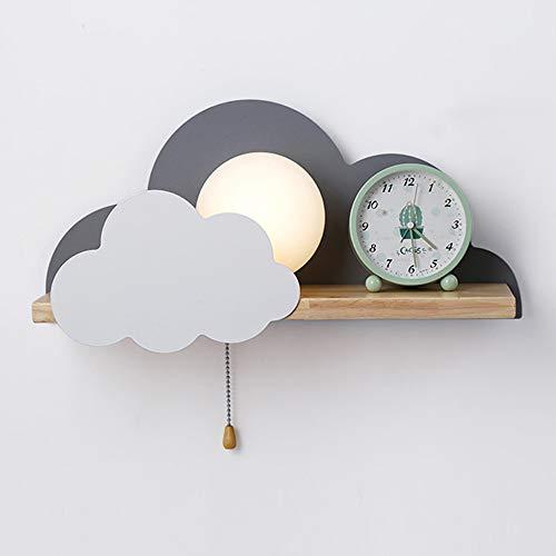 Wandlamp voor kinderen, smeedijzeren wolk moderne wandlamp van hout E27 lampenkap glas deurschakelaar dynamische spots binnenverlichting slaapkamer leeslamp Grijs