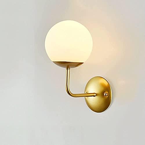 hwljxn Lampada da parete in vetro globo al coperto, lampada in metallo verniciato Body + crema Bianco PARANNO SFERICO PARANNO SCONCES, Porta luci E27, retro Camera da letto industriale Lampade per can