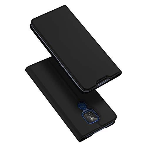 DUX DUCIS Hülle für Moto G9 Play, Leder Klappbar Handyhülle Schutzhülle Tasche Hülle mit [Kartenfach] [Standfunktion] [Magnetisch] für Motorola Moto G9 Play (Schwarz)