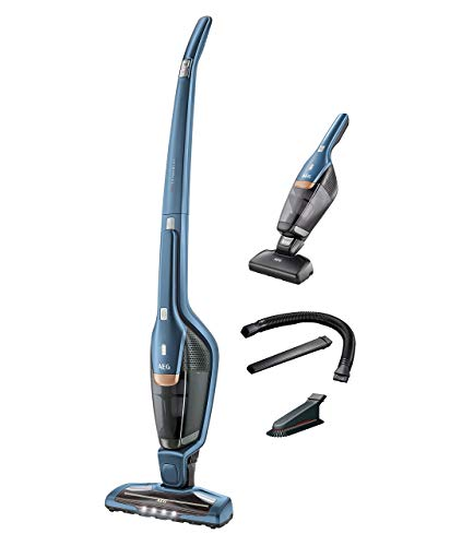 AEG Ergorapido CX7-2-I360 2in1 Akku-Staubsauger / beutellos / Tierhaardüse und Zubehörset / bis zu 45 Min. Laufzeit / freistehend / 180° Drehgelenk / Bürstenreinigungsfunktion / LED-Lichter / blau
